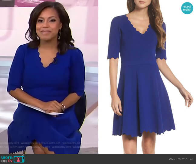 Scallop Trim Fit & Flare Dress by Eliza J worn by Sheinelle Jones  on Today