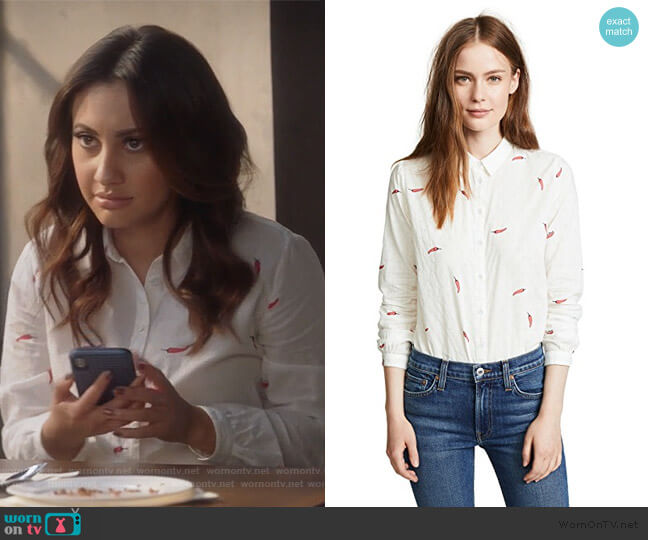 Chilli Pepper Button Down by Scotch & Soda worn by Ana Torres (Francia Raisa) on Grown-ish