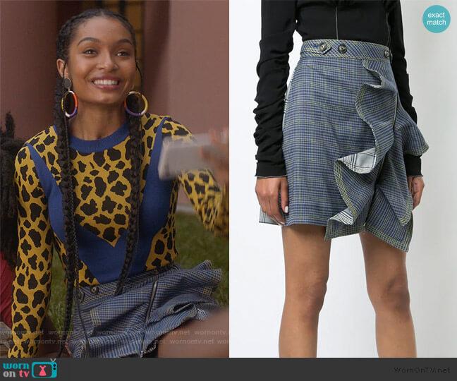 Check Flounce Mini Skirt by Self Portrait worn by Zoey Johnson (Yara Shahidi) on Grown-ish