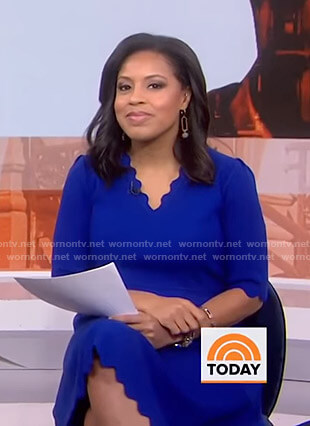 Sheinelle's blue scalloped dress on Today