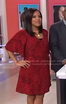Sheinelle's red leopard wrap dress on Today