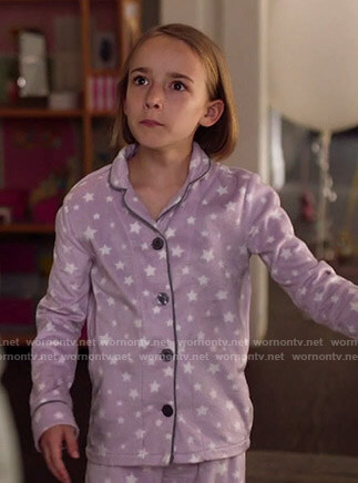 Sophie's purple star print pajamas on Single Parents