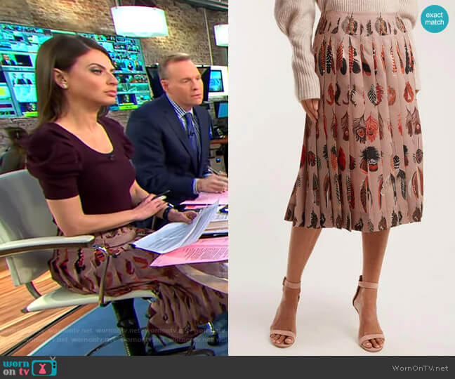 Sirocco Pleated Skirt by Altuzarra worn by Bianna Golodryga  on CBS This Morning