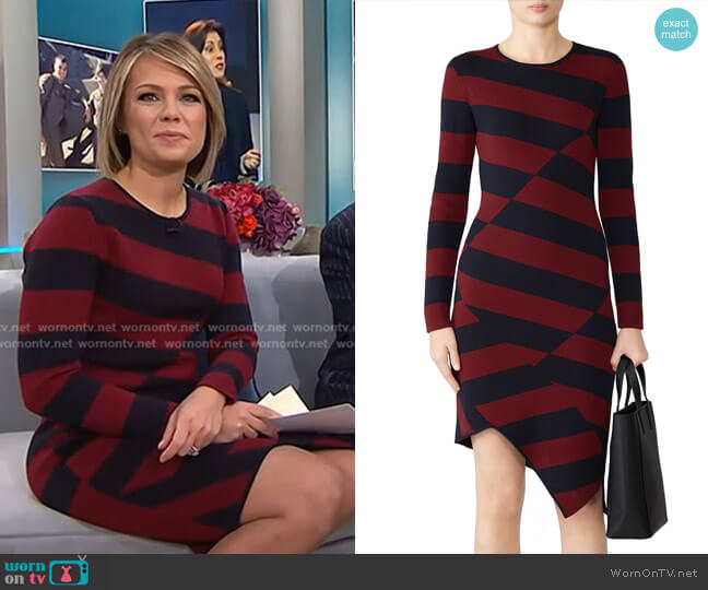 Striped Asymmetric Hem Dress by Slate & Willow worn by Dylan Dreyer (Dylan Dreyer) on Today