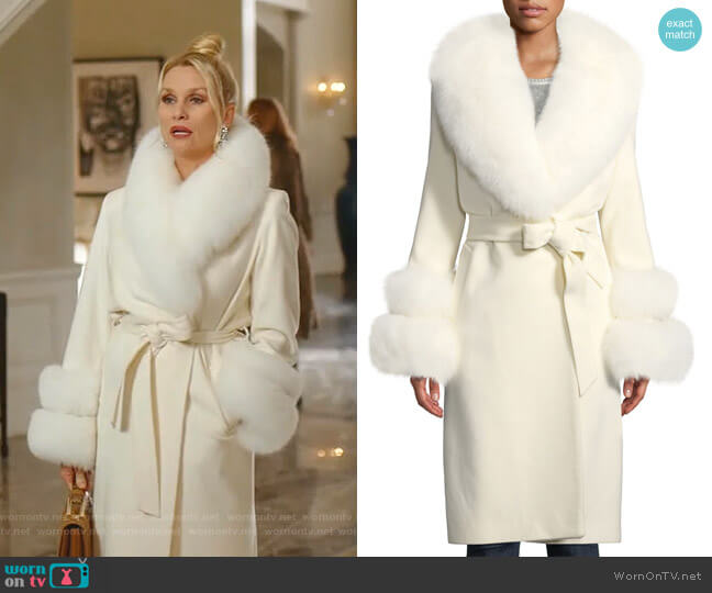 Fur Shawl-Collar & Double-Cuff Coat by Sofia Cashmere worn by Alexis Carrington (Elaine Hendrix) on Dynasty