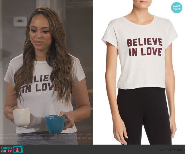 Believe In Love Cropped Tee by Spiritual Gangster worn by Claire (Amber Stevens West) on Happy Together