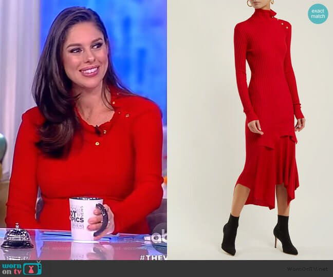 Handkerchief-hem ribbed-knit dress by Stella McCartney worn by Abby Huntsman  on The View