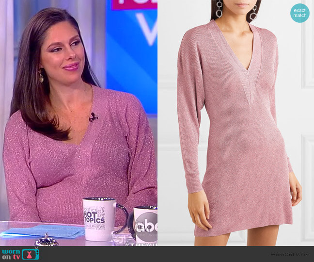 Metallic knitted mini dress by Stella McCartney worn by Abby Huntsman (Abby Huntsman) on The View