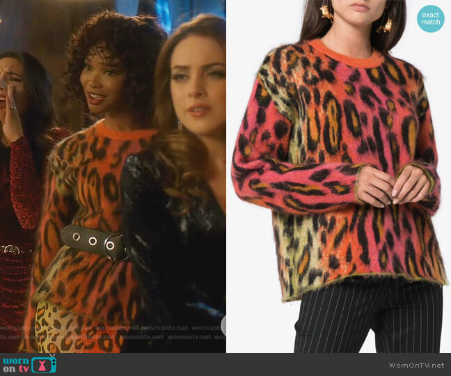 Leopard Print Mohair Jumper by Stella McCartney worn by Monica Colby (Wakeema Hollis) on Dynasty