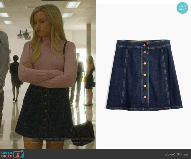 Stretch Denim Straight Miniskirt by Madewell worn by Terra Newell (Julia Garner) on Dirty John