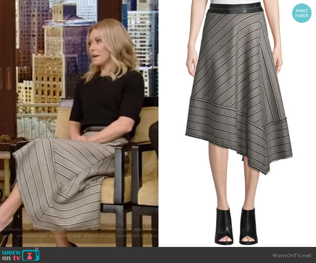 Striped Basketweave Asymmetric Midi Skirt by Helmut Lang worn by Kelly Ripa  on Live with Kelly & Ryan