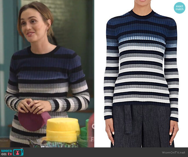 Striped Ombré Knitted Jumper by Maison Margiela worn by Angie (Leighton Meester) on Single Parents