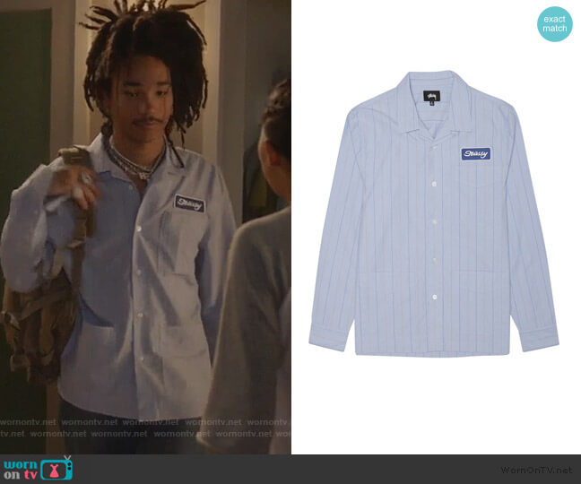 Men's Blue Work Shirt by Stussy worn by Luka Hall (Luka Sabbat) on Grown-ish