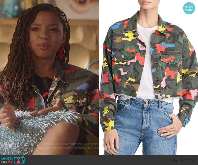 Camo Cropped Denim Jacket by Sunset & Spring worn by Jazlyn Forster (Chloe Bailey) on Grown-ish