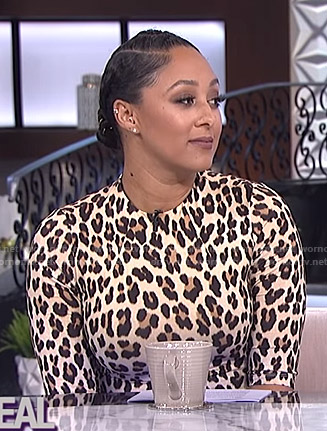 Tamera's leopard fitted dress on The Real