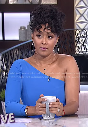 Tamera's blue one-sleeve dress on The Real