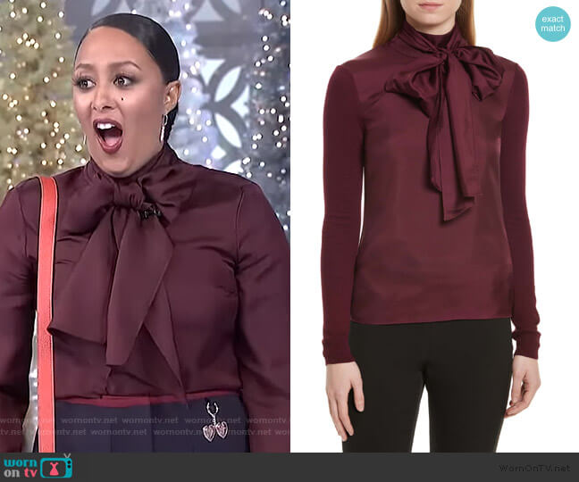 Babri Tie Neck Mixed Media Sweater by Ted Baker worn by Tamera Mowry (Tamera Mowry) on The Real