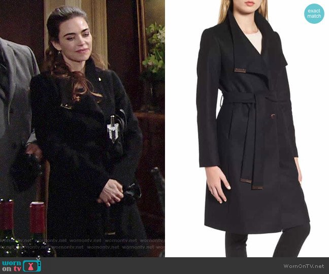 Ted Baker Wool Blend Long Wrap Coat worn by Victoria Newman (Amelia Heinle) on The Young & the Restless