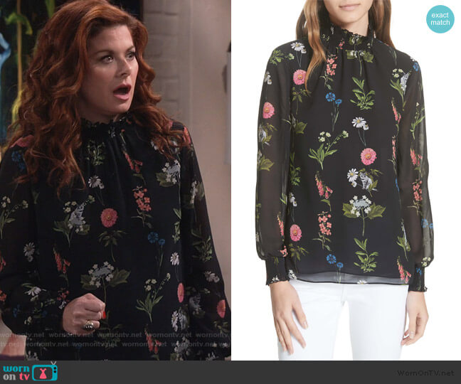 Taalia Florence Blouse by Ted Baker worn by Grace Adler (Debra Messing) on Will & Grace