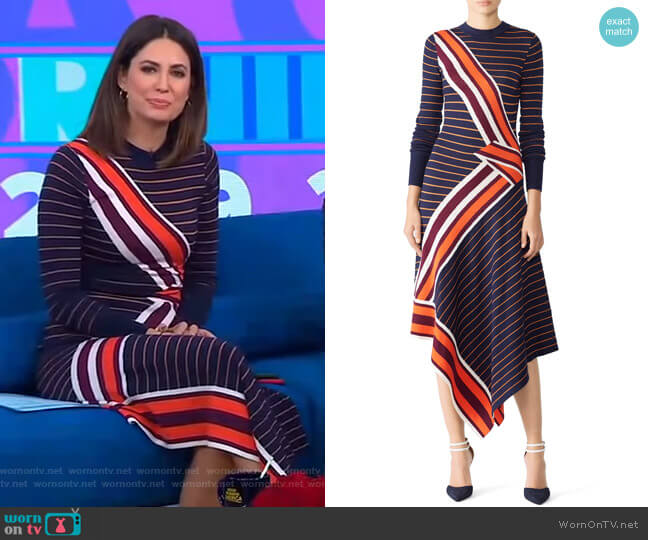 Petrol Mix Knit Dress by Temperley London worn by Cecilia Vega (Cecilia Vega) on Good Morning America