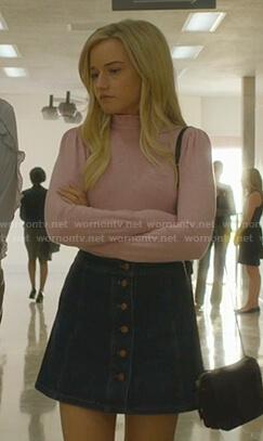Terra's pink ruffle neck sweater and buttoned denim skirt on Dirty John