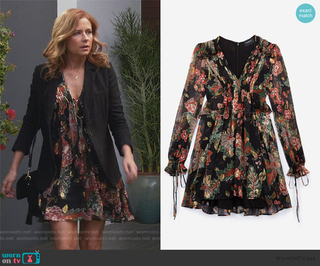 Black Silk Dress with Bollywood Print by The Kooples worn by Lena (Jenna Fischer) on Splitting Up Together