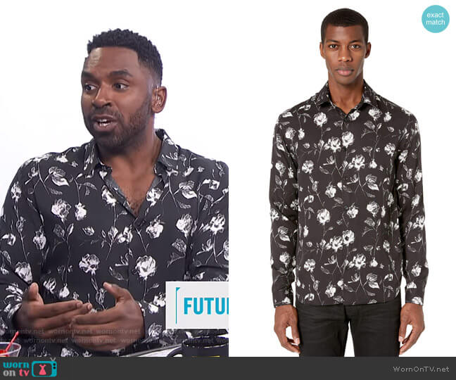 Wild Roses Print Shirt by The Kooples worn by Justin Sylvester  on E! News