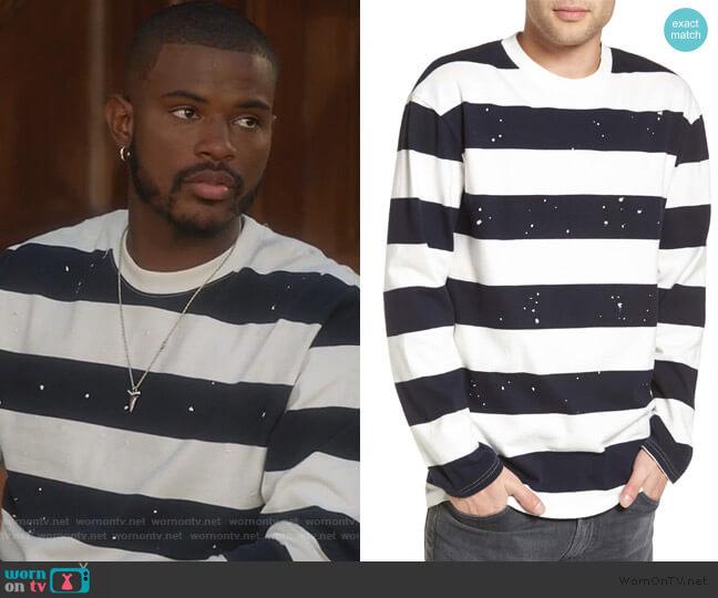 Paint Splatter Sweatshirt by The Rail worn by Trevor Jackson on Grown-ish