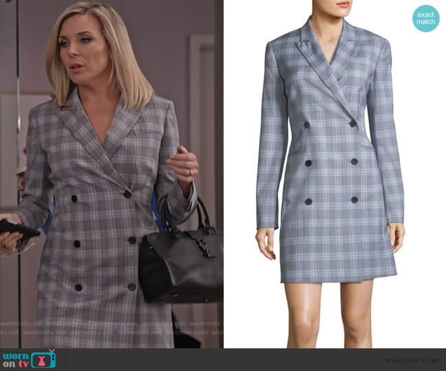 Double-Breasted Maple Check Blazer Dress by Theory worn by Brianna (June Raphael) on Grace & Frankie