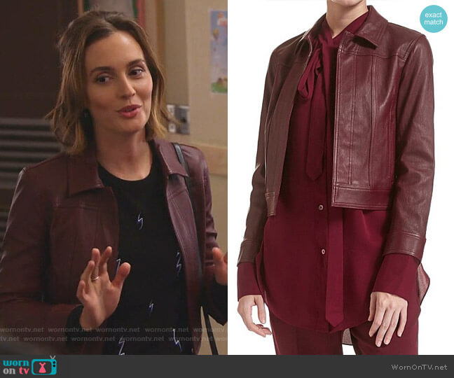 Shrunken Leather Jacket by Theory worn by Angie (Leighton Meester) on Single Parents