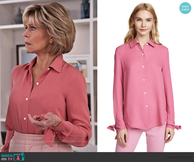 Tie Cuff Shirt by Theory worn by Grace (Jane Fonda) on Grace & Frankie
