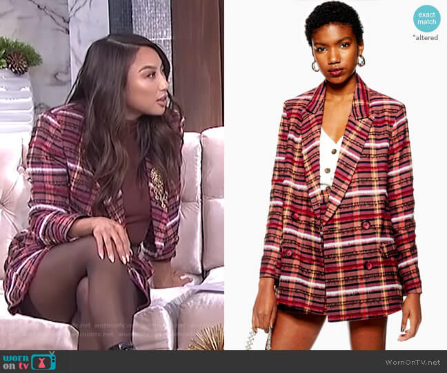 Brushed Check Blazer by Topshop worn by Jeannie Mai  on The Real