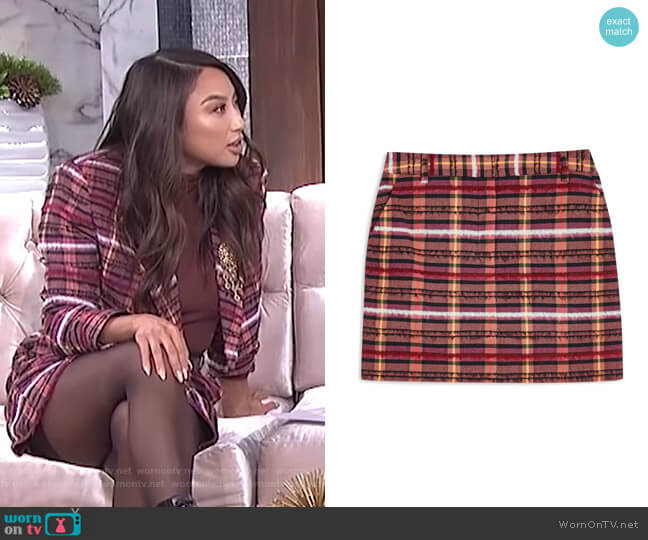 Brushed Check Miniskirt by Topshop worn by Jeannie Mai  on The Real