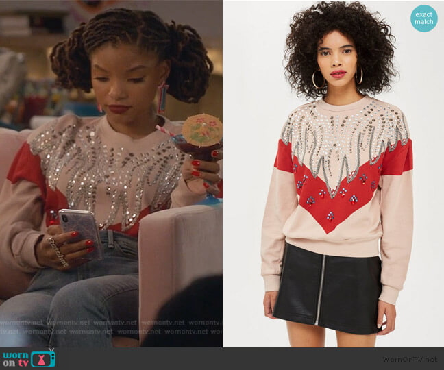Chevron Crystal Sweatshirt by Topshop worn by Skylar Forster (Halle Bailey) on Grown-ish