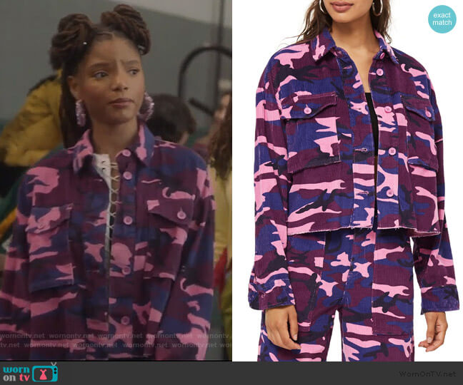 Corduroy Camo Jacket by Topshop worn by Skylar Forster (Halle Bailey) on Grown-ish