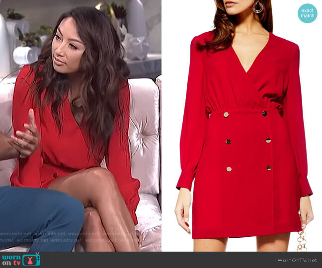 Double Breasted Blazer Minidress by Topshop worn by Jeannie Mai  on The Real