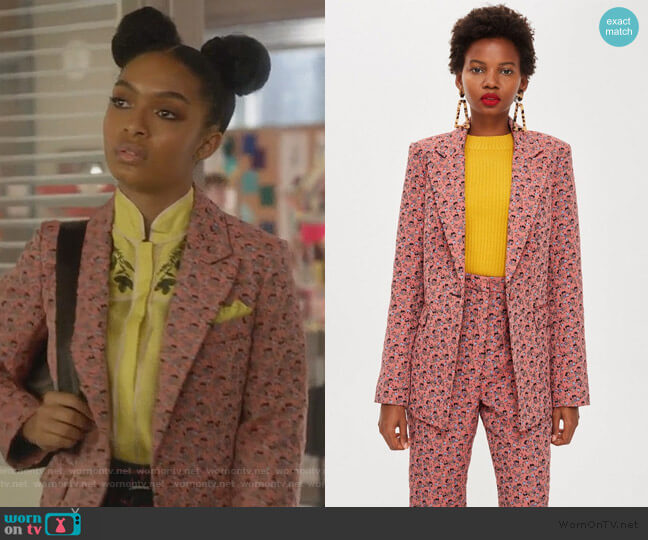 Floral Jacquard Suit by Topshop worn by Zoey Johnson (Yara Shahidi) on Grown-ish