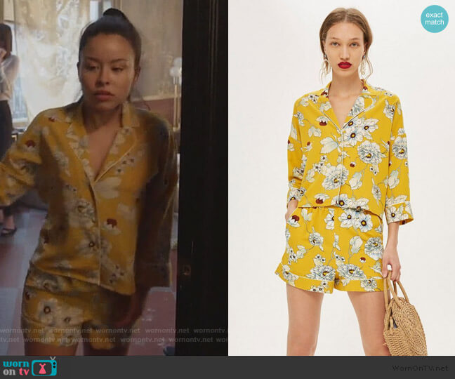 Yellow Floral Print Pajamas by Topshop worn by Mariana Foster (Cierra Ramirez) on Good Trouble