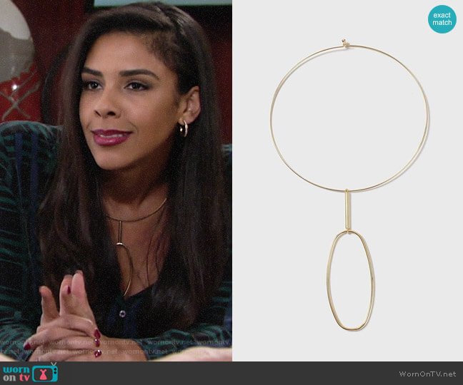 Topshop House of Freedom Fine Shape Necklace worn by Kerry Johnson (Alice Hunter) on The Young & the Restless