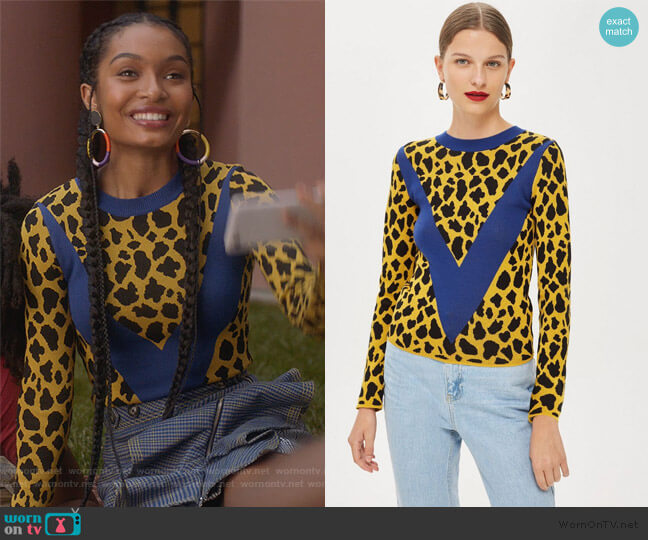 89f265506c2b Check Flounce Leopard Print Chevron Top by Topshop worn by Zoey Johnson  (Yara Shahidi)