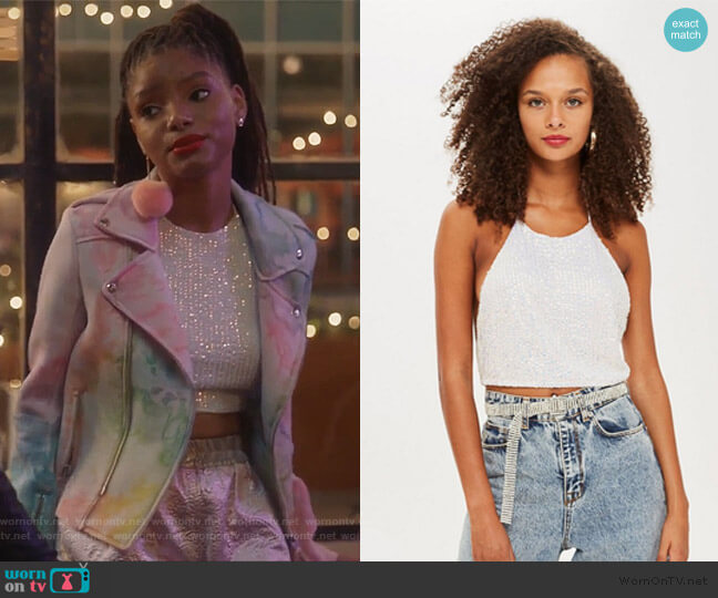 Sequin Halter Neck Top by Topshop worn by Halle Bailey on Grown-ish