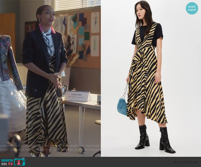 Zebra Print Pinafore Dress by Topshop worn by Zoey Johnson (Yara Shahidi) on Grown-ish