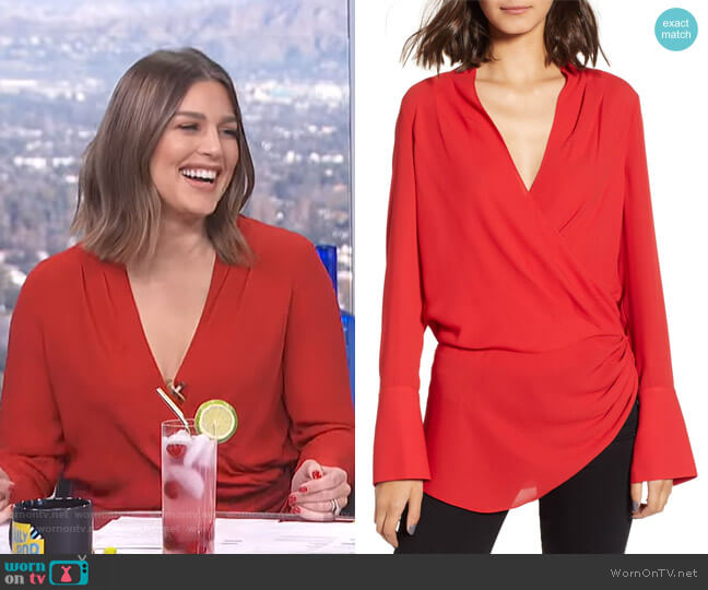 Long Sleeve Wrap Blouse by Trouve worn by Carissa Loethen Culiner on E! News