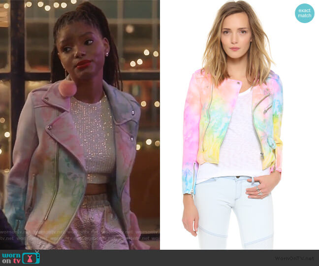 I Dye Moto Jacket by UNIF worn by Halle Bailey on Grown-ish