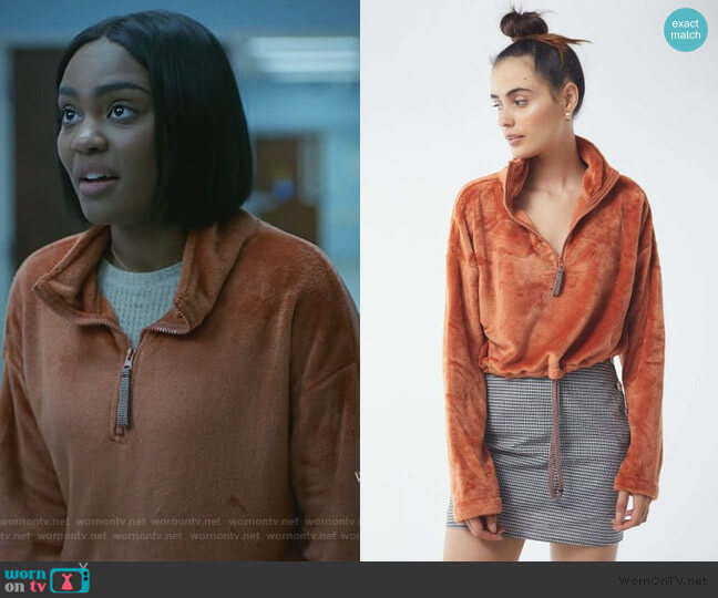 Angela Fleece Pullover Top by Urban Outfitters worn by Jennifer Pierce (China Anne McClain) on Black Lightning