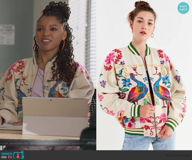 Peacock Paradise Cross-Stitch Bomber Jacket by Urban Outfitters worn by Jazlyn Forster (Chloe Bailey) on Grown-ish