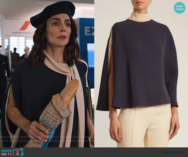 Cape-sleeve tie-neck silk-crepe blouse by Valentino worn by Samantha Delmonico (Annie Parisse) on Friends from College