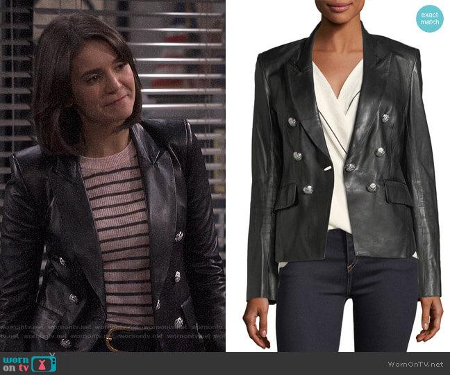 Cooke Leather Jacket by Veronica Beard worn by Clem (Nina Dobrev) on Fam