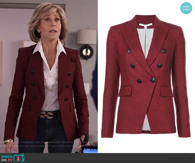 Miller double breasted jacket by Veronica Beard worn by Grace (Jane Fonda) on Grace & Frankie