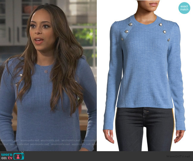 Simi Wool Button-Shoulder Raglan Sweater by Veronica Beard worn by Claire (Amber Stevens West) on Happy Together